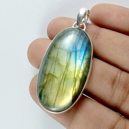 78CTS Labradorite Multi Fire Silver Overly Oval Pendant Size 55x22mm.