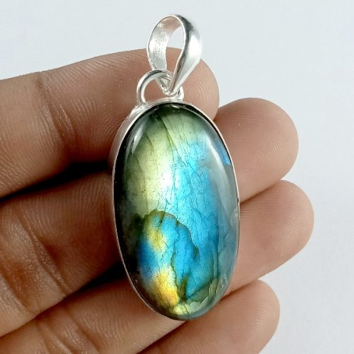 63CTS Labradorite Multi Fire Silver Overly Oval Pendant Size 40x20mm.