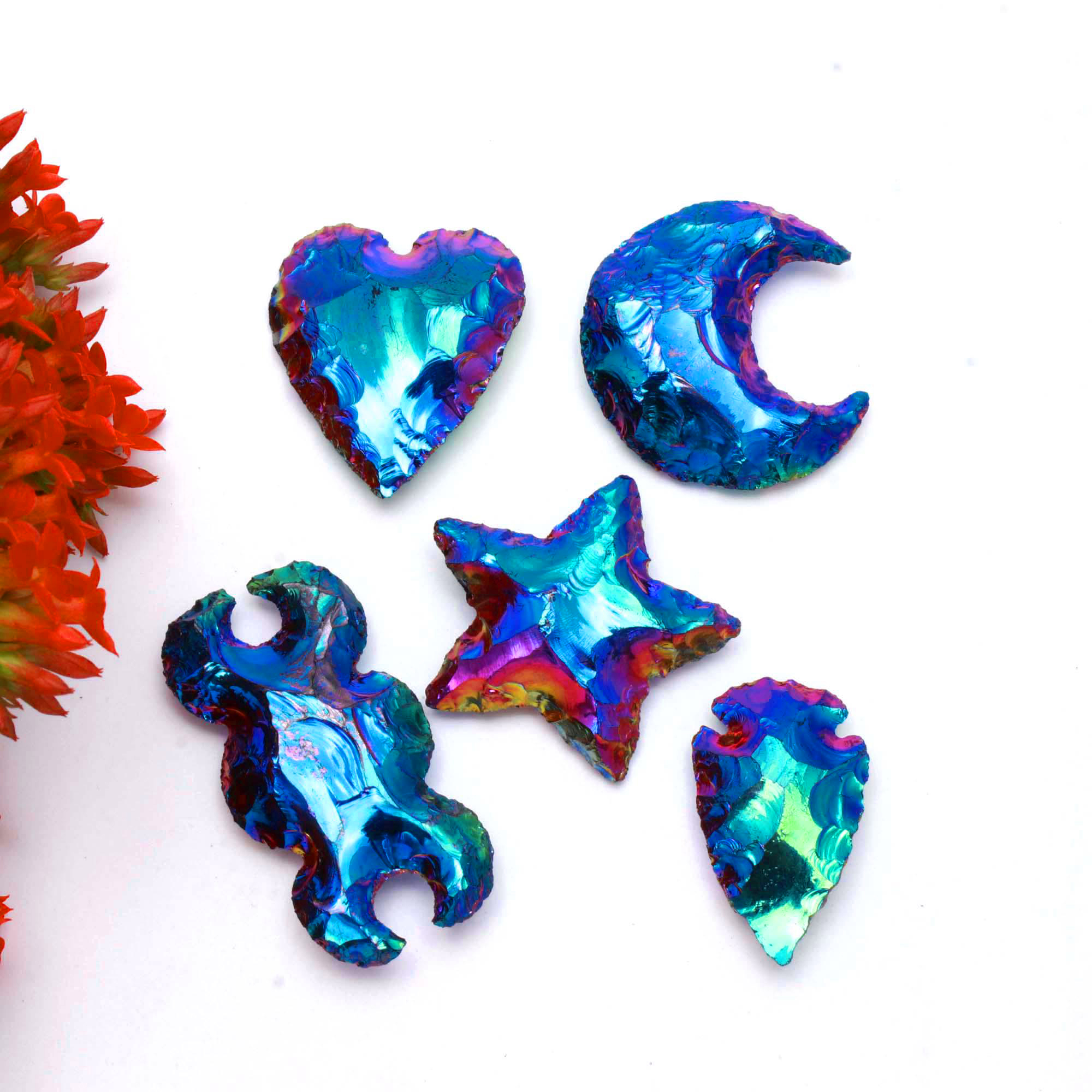 Set Of 5 Shape Aura Coated Obsidian Moon Star Heart Arrowhead Double Moon Carving