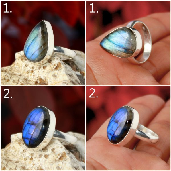 Labradorite Cabochon Overly Mix Size Ring Gemstone