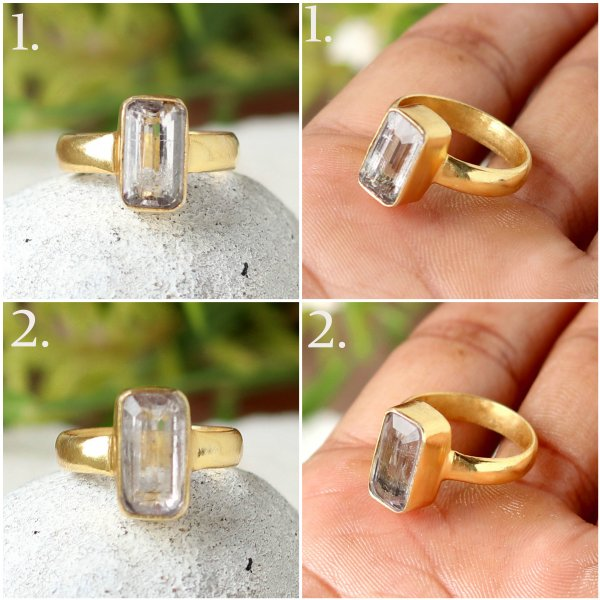 natural kunzite mix  gold plated ring