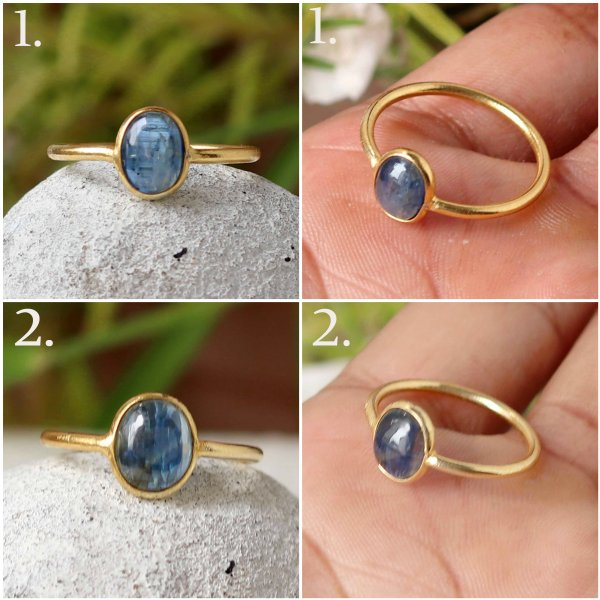Natural Blue kyanite Gold Plated Ring Shape Oval