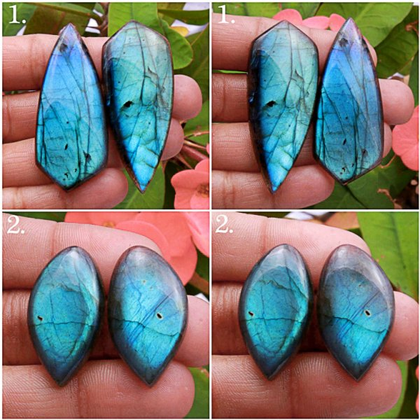 Natural Multi Fire Labradorite Matched pair Mix cabochon loose gemstone