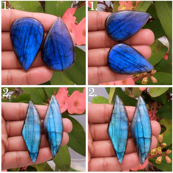 Natural Blue Fire Labradorite Matched pair Mix Shape cabochon Loose gemstone
