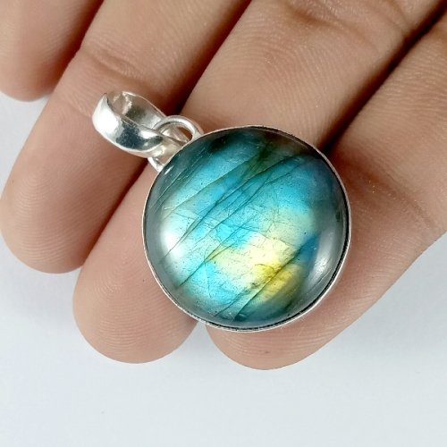 49CTS Labradorite Multi Fire Silver Overly Round Pendant Size 24x247mm.