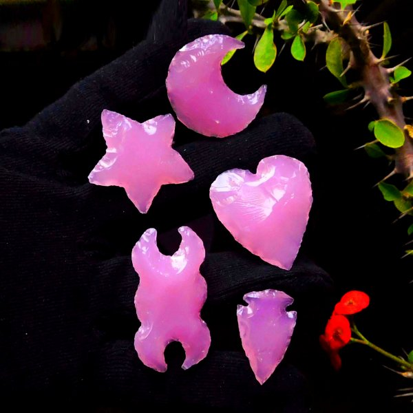 Set Of 5 Shape Rose Quartz Moon Star Heart Arrowhead Double Moon Carving