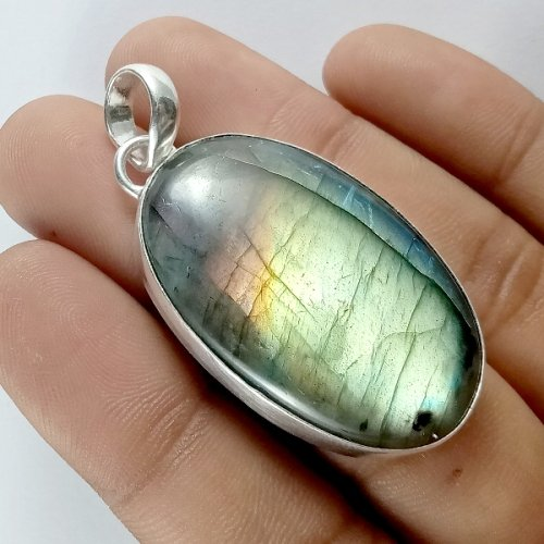 82CTS Labradorite Multi Fire Silver Overly Oval Pendant Size 45x25mm.