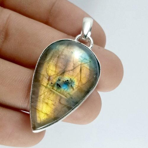 56CTS Labradorite Multi Fire Silver Overly Pear Pendant Size 40x24mm.
