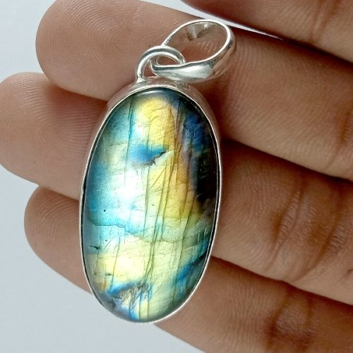 56CTS Labradorite Multi Fire Silver Overly Oval Pendant Size 44x20mm.