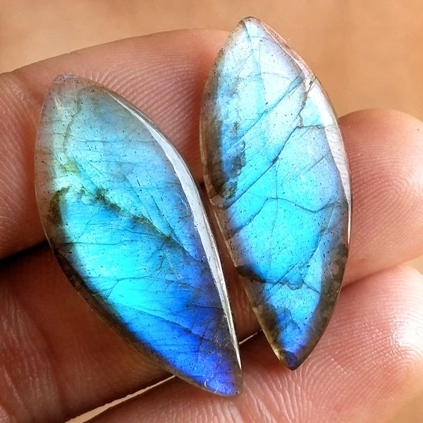 27CTS Natural Labradorite Earrings Pair Cabochon Loose Gemstone 34x15mm.