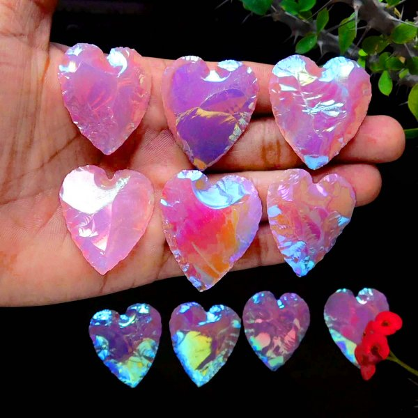 Aura Coated Rose Quartz Heart Carving