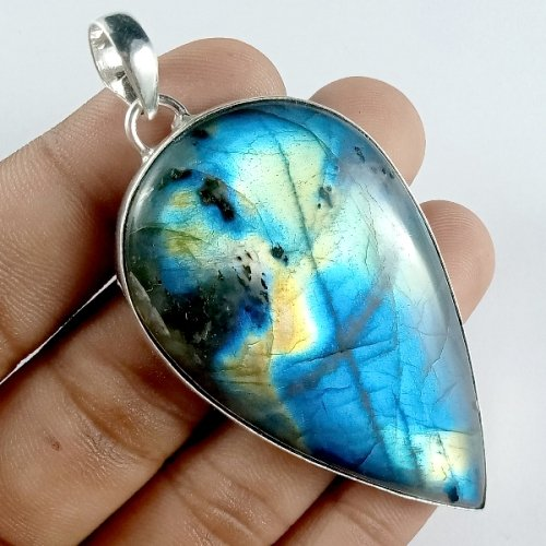 156CTS Labradorite Multi Fire Silver Overly Pear Pendant Size 66x38mm.