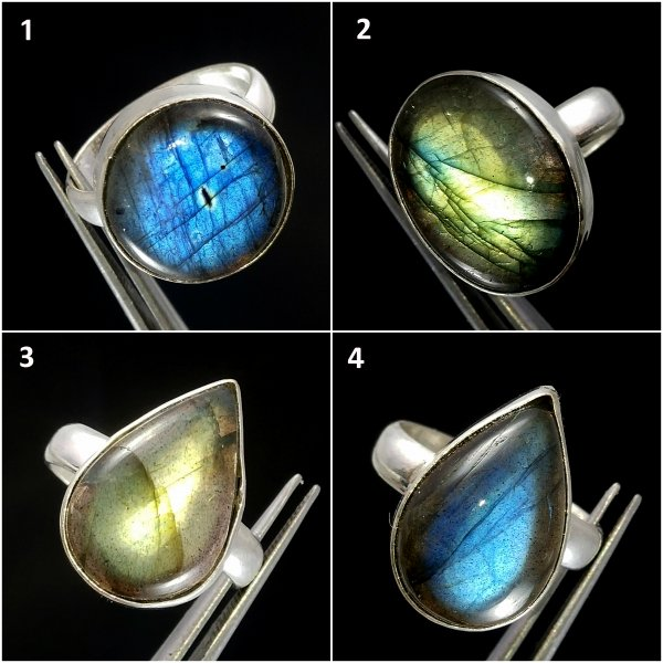 Labradorite Oval Pear Round Gemstone Silver Plated Overly Ring