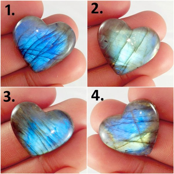 Purple Blue Multi Fire Labradorite Heart Shape Cabochon