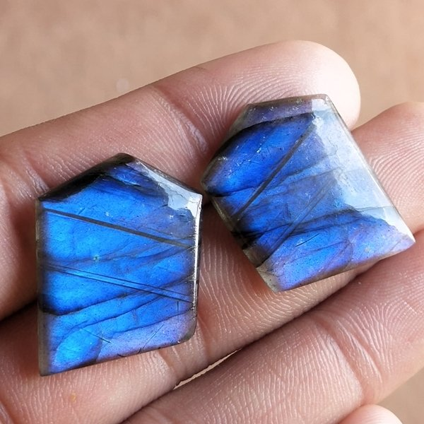 40CTS Natural Labradorite Earrings Pair Cabochon Loose Gemstone 30X26mm.