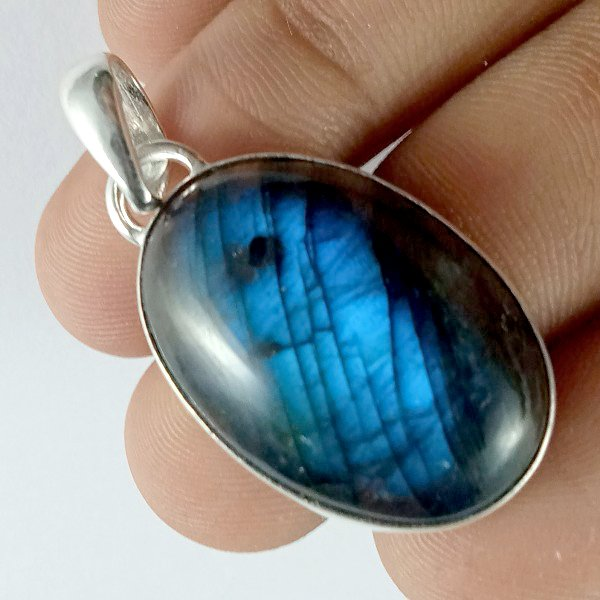 48CTS Labradorite Multi Fire Silver Overly Oval Pendant Size 32x20mm.