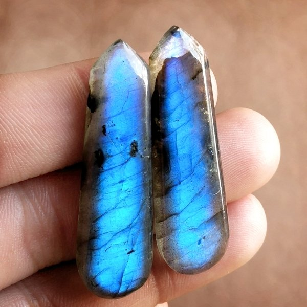 65CTS Natural Labradorite Earrings Pair Cabochon Loose Gemstone 46x15mm.