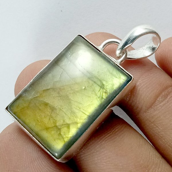 50CTS Labradorite Multi Fire Silver Overly Pendant Size 32x20mm.