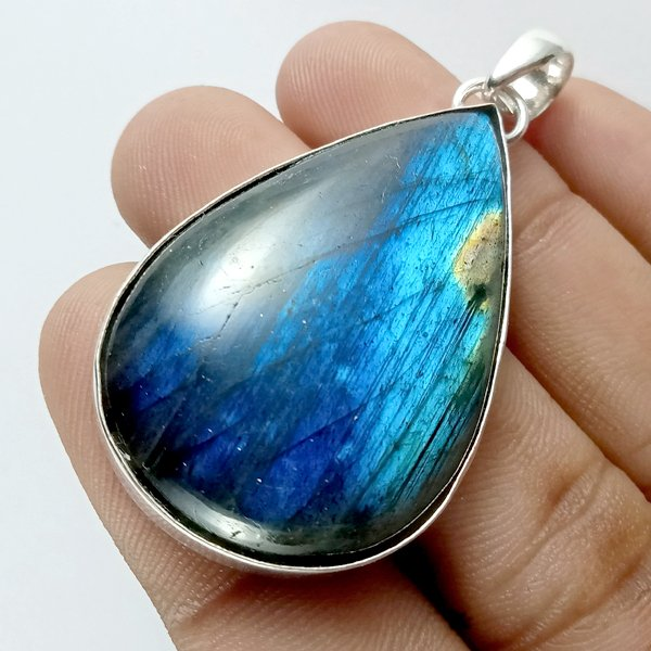 79CTS Labradorite Multi Fire Silver Overly Pear Pendant Size 46x28mm.