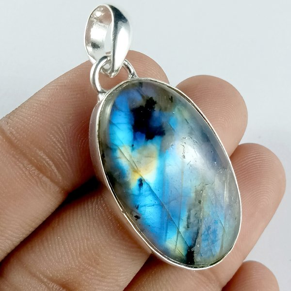 52CTS Labradorite Multi Fire Silver Overly Oval Pendant Size 38x22mm.
