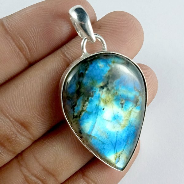 57CTS Labradorite Multi Fire Silver Overly Pear Pendant Size 42x28mm.