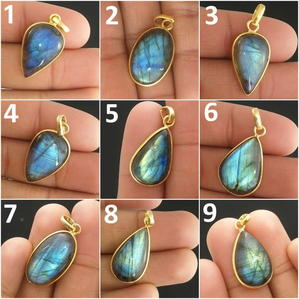 Blue Fire Bezal Pendants Connectors, Charms Pendants, Natural Blue Labradorite