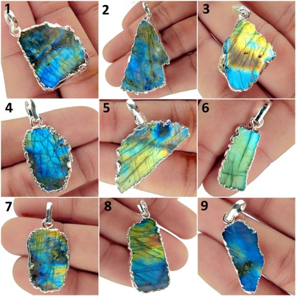 Natural Rainbow Blue Fire Labradorite Silver Plated Pendant