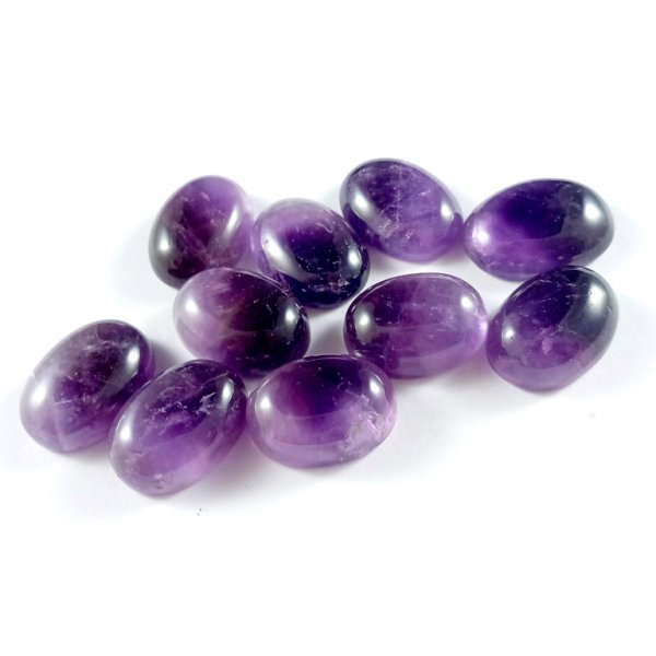 141Cts. 10Pcs. Natural Purple Amethyst Lot Oval Loose Cabochon Gemstones