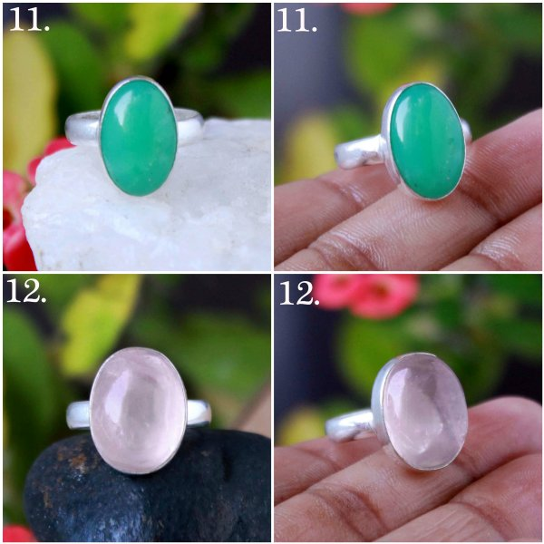 Rose Quartz , Chrysoprase , Labradorite , Charoite , Prehnite , Mix Shape Cabochon Overly Ring Gemstone
