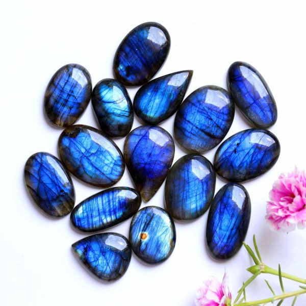 15 Pcs. Lot Natural Blue Labradorite Blue Fire Mix Shape Cabochon Loose Gemstone 844Cts 39-31mm