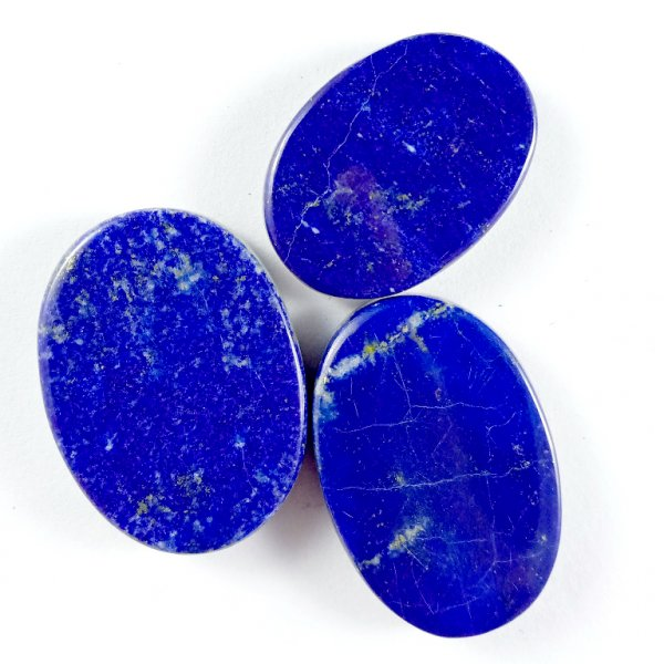 155CTS 3Pcs. NATURAL BLUE LAPIS LAZULI OVAL CABOCHON LOOSE GEMSTONE LOTS