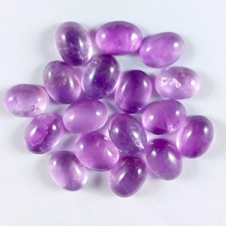 22Cts. 17Pcs. Natural Purple Amethyst Lot Oval Loose Cabochon Gemstones
