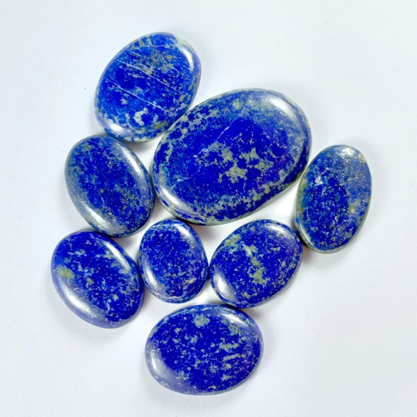422CTS 8Pcs. NATURAL BLUE LAPIS LAZULI OVAL CABOCHON LOOSE GEMSTONE LOTS