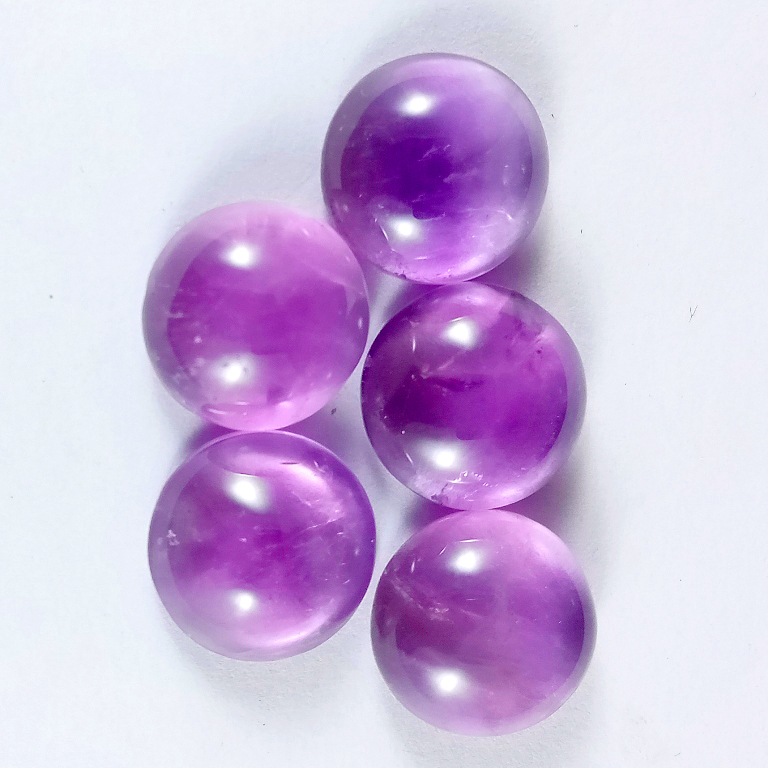 22Cts. 5Pcs. Natural Purple Amethyst Lot Round Loose Cabochon Gemstones