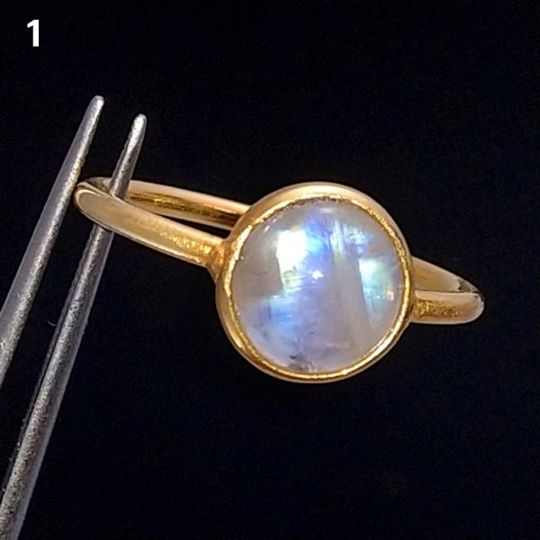 Rainbow Moonstone Ring Gold Plated,Solitaire Ring, Gemstone Ring, Moonstone Ring