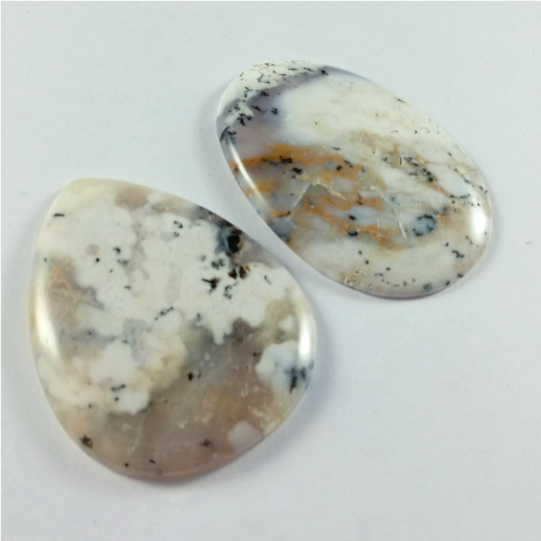 192Cts. 2Pcs Natural Dendrite Opal Cabochon loose Gemstone Wholesale Lot