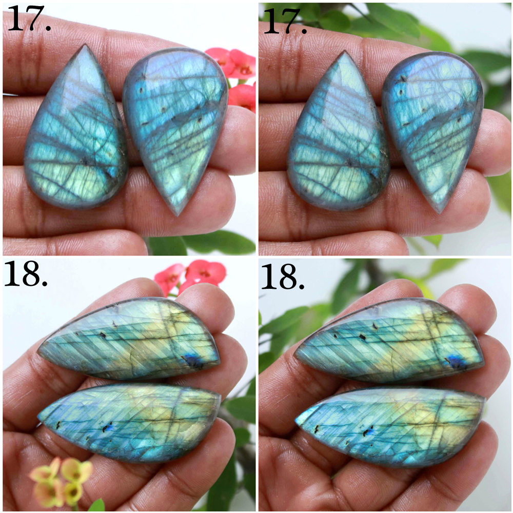 Natural Labradorite pair Mix cabochon loose gemstone