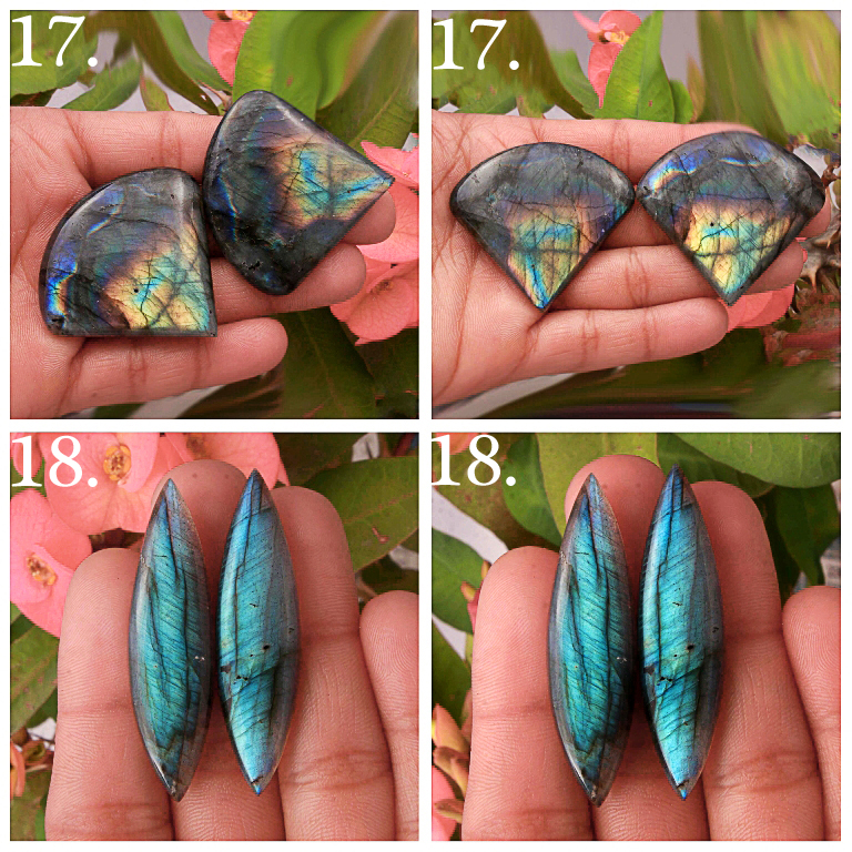 Natural Multi Fire Labradorite Matched pair Mix Shape cabochon loose gemstone