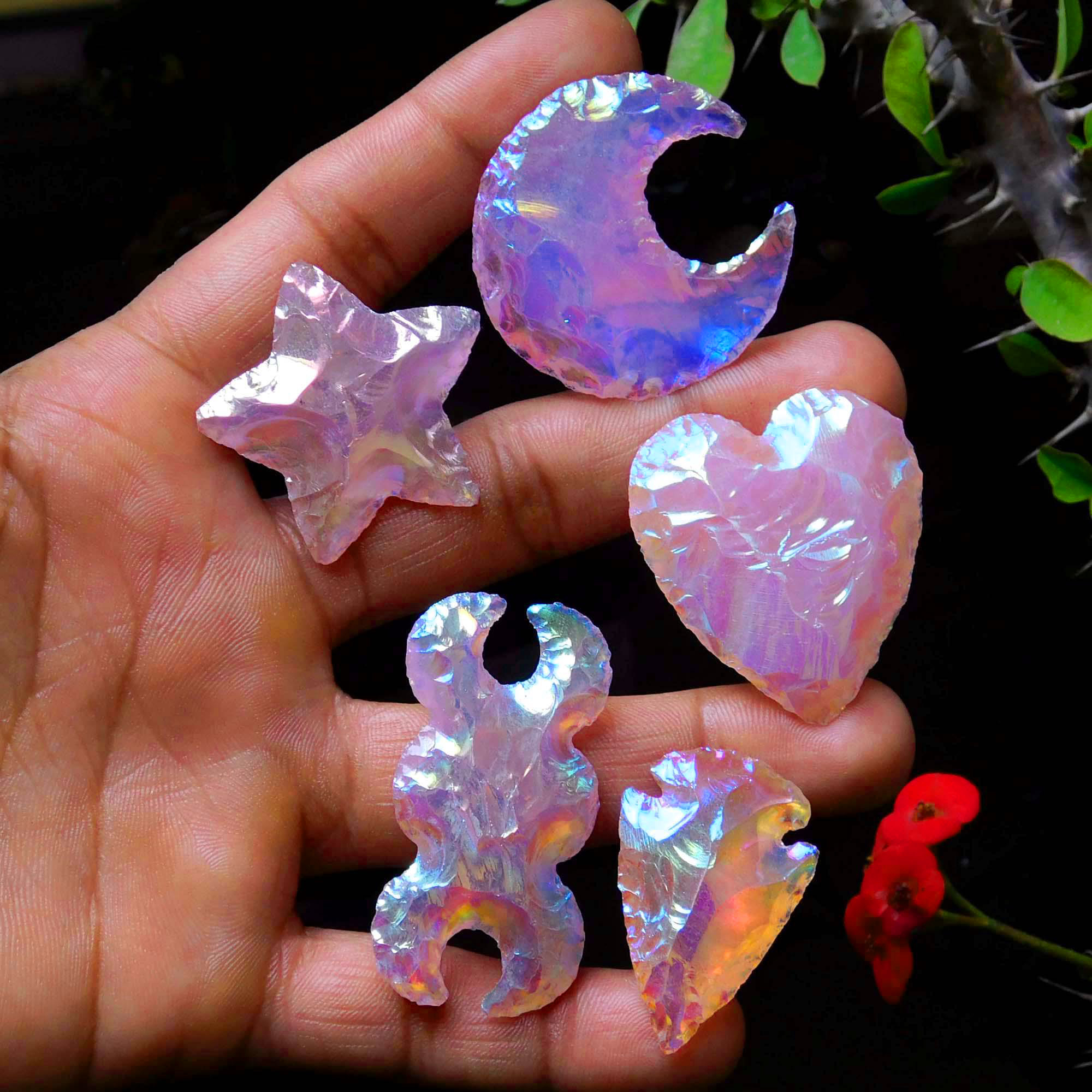 Set Of 5 Shape Aura Coated Rose Quartz Moon Star Heart Arrowhead Triple Moon Carving
