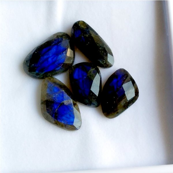 109Cts 6PCs Natural Labradorite Faceted Cut Cabochon Gemstone 31x15mm To 22X17mm