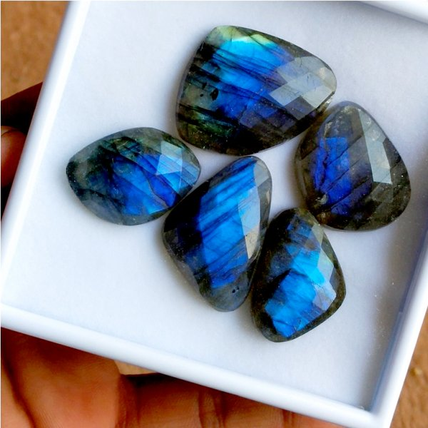 204Cts 5PCs Natural Labradorite Faceted Cut Cabochon Gemstone 38X28mm To 28X20mm