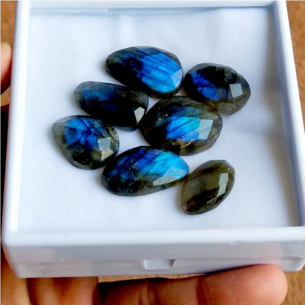 147Cts 7PCs Natural Labradorite Faceted Cut Cabochon Gemstone 25x20mm To 22x14mm