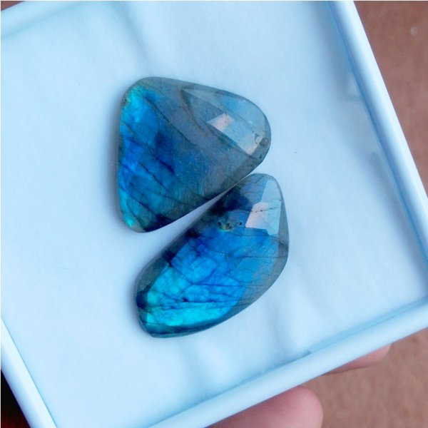 93Cts 2Pcs Natural Labradorite Faceted Cut Cabochon Gemstone 40X20mm To 35X30mm