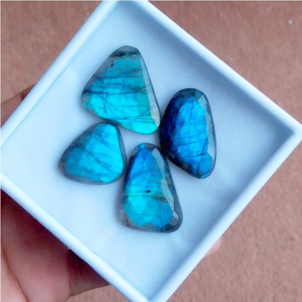 170Cts 4Pcs Natural Labradorite Faceted Cut Cabochon Gemstone 31X28mm To 26x24mm