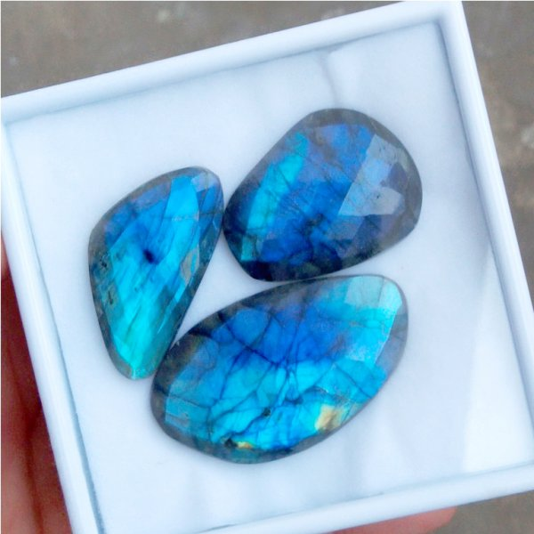 230Cts 3Pcs Natural Labradorite Faceted Cut Cabochon Gemstone 52x30mm To 42X22mm