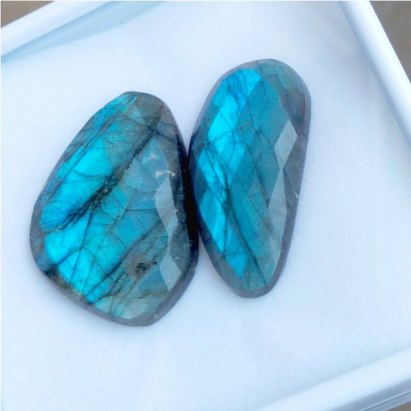 149Cts 2Pcs Natural Labradorite Faceted Cut Cabochon Gemstone 45x32mm To 44X32mm
