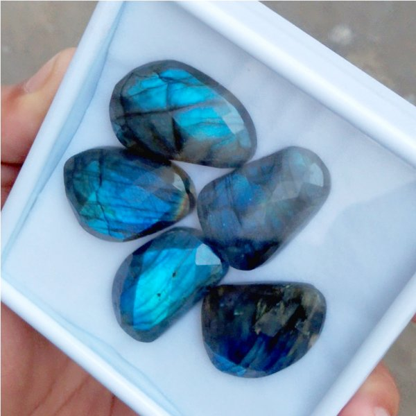 224Cts 5Pcs Natural Labradorite Faceted Cut Cabochon Gemstone 34x21mm To 30x21mm