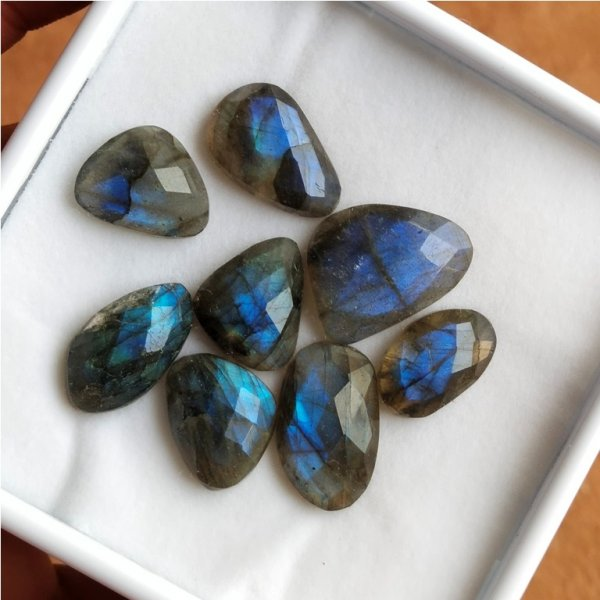 111Cts 8PCs Natural Labradorite Faceted Cut Cabochon Gemstone 24x18mm To 18X16mm