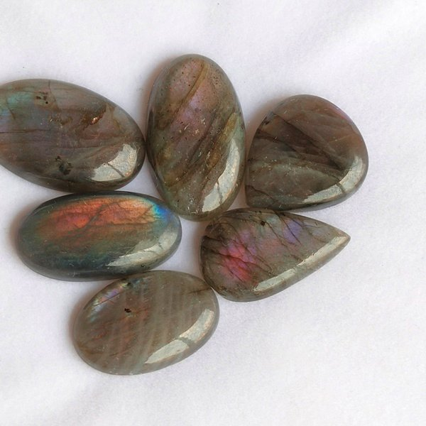 171Cts. 6Pcs. Natural Purple Labradorite Wholesale Lot Mix Cabochon Gemstone