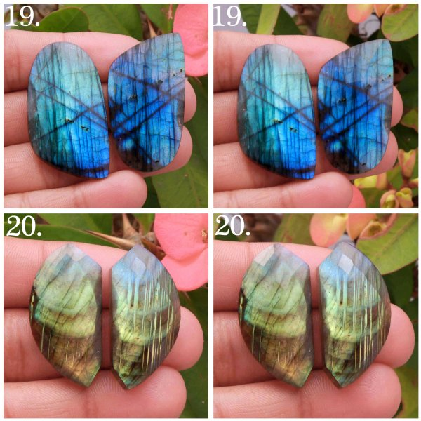 Natural Multi Fire Labradorite Rose Faceted Pair Cabochon Mix Shape Loose Gemstone